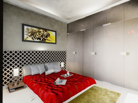 Bedroom with natural & artificial lighting