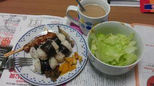 21 Oct 2012 - dinner, from the remaining onigiri mutants, yakitori skewer